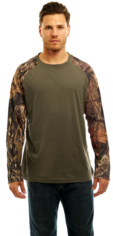 Men's Mossy Oak Raglan Long Sleeve Cotton T-Shirt - Trailcrest.com