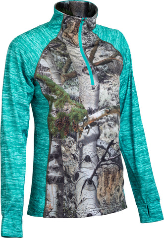 Women's Mossy Oak  Impulse 4-Way Stretch 1/4 Zip Performance Top