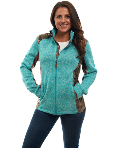 Women's Mossy Oak Signature Sweater Fleece Full Zip Jacket