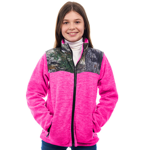 Kids Mossy Oak Full Zip C-Max Fleece Jacket - Trailcrest.com