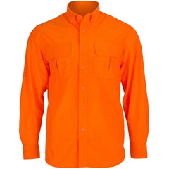 Men's Blaze Orange Micro Fleece Button-Down Shirt - Trailcrest.com