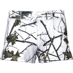 Women's Snow Forest Camo 4-Way Stretch Active Dolphin Shorts - Trailcrest.com