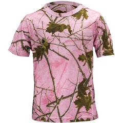 Girls Pink Forest Camo All Cotton Short Sleeve T-Shirt - Trailcrest.com