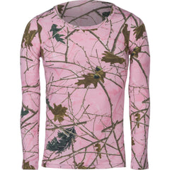 Girls Pink Forest Camo All Cotton Long Sleeve T-Shirt - Trailcrest.com