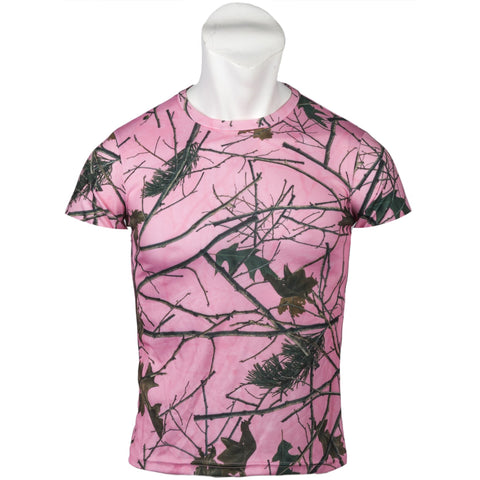 Women's Pink Forest Camo Active Performance Short Sleeve T-Shirt - Trailcrest.com