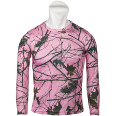 Women's Pink Forest Camo Active Performance Long Sleeve T-Shirt - Trailcrest.com