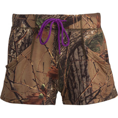 Women's Purple Camo 4-Way Stretch Active Dolphin Shorts - Trailcrest.com