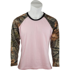 Women's Pink Camo Raglan Cotton Long Sleeve T-Shirt - Trailcrest.com