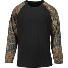 Men's Camo Raglan Cotton Long Sleeve T-Shirt - Trailcrest.com