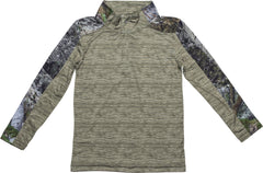 Juniors Mossy Oak Impulse 4-Way Stretch 1/4 Zip Performance Top - Trailcrest.com