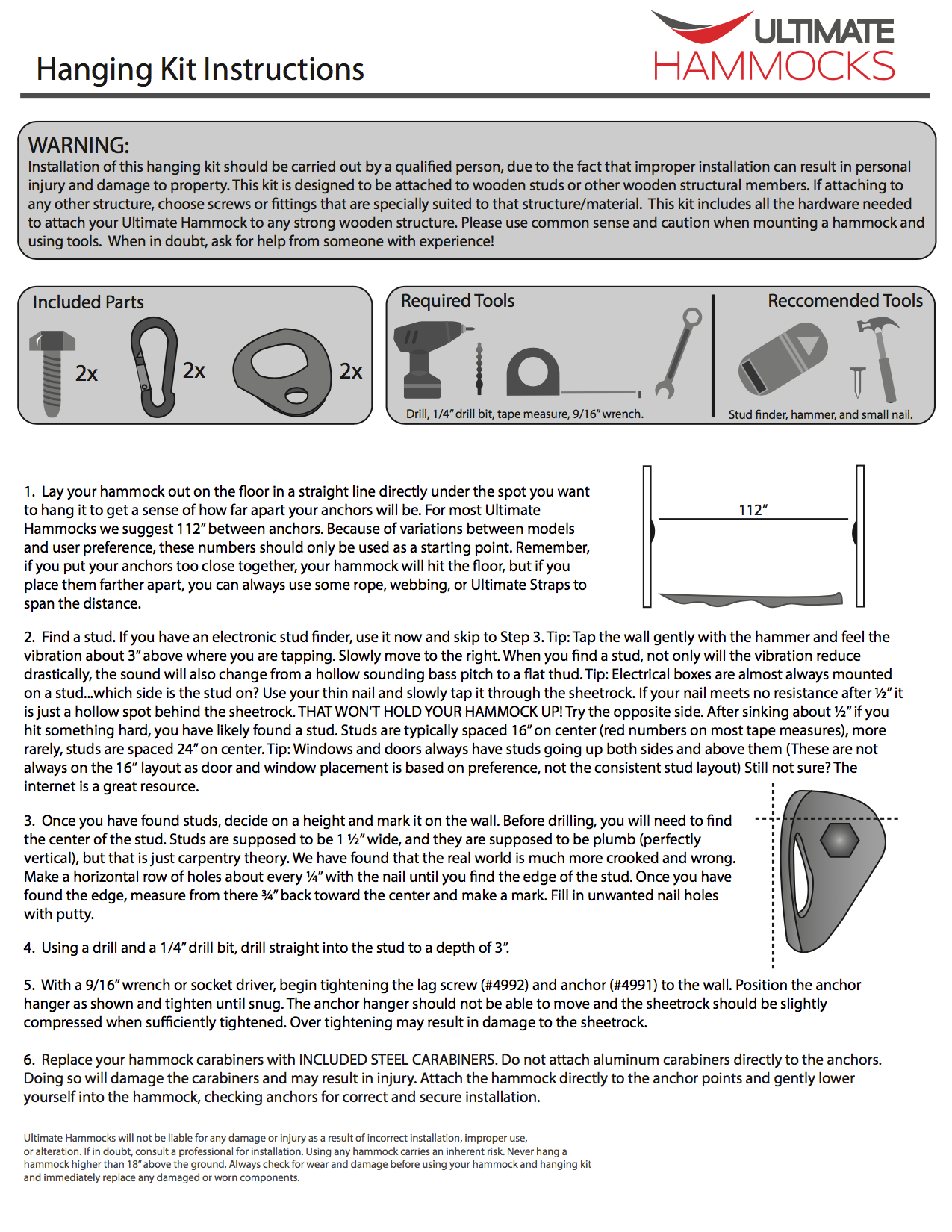 Hanging kit instructions