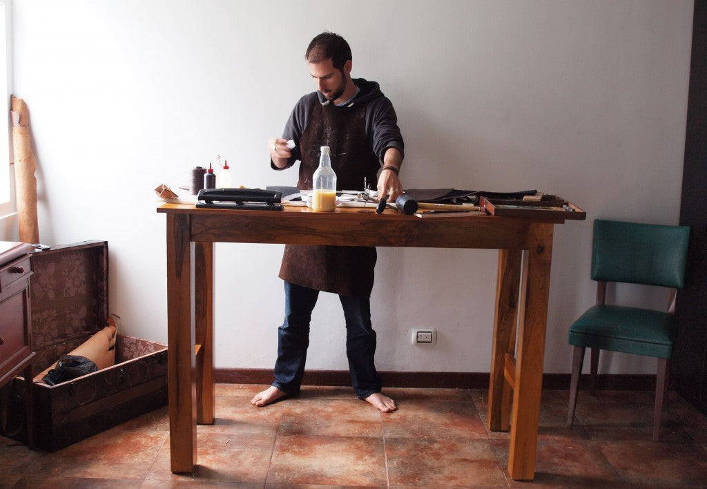Jerry Tolochko with his workbench