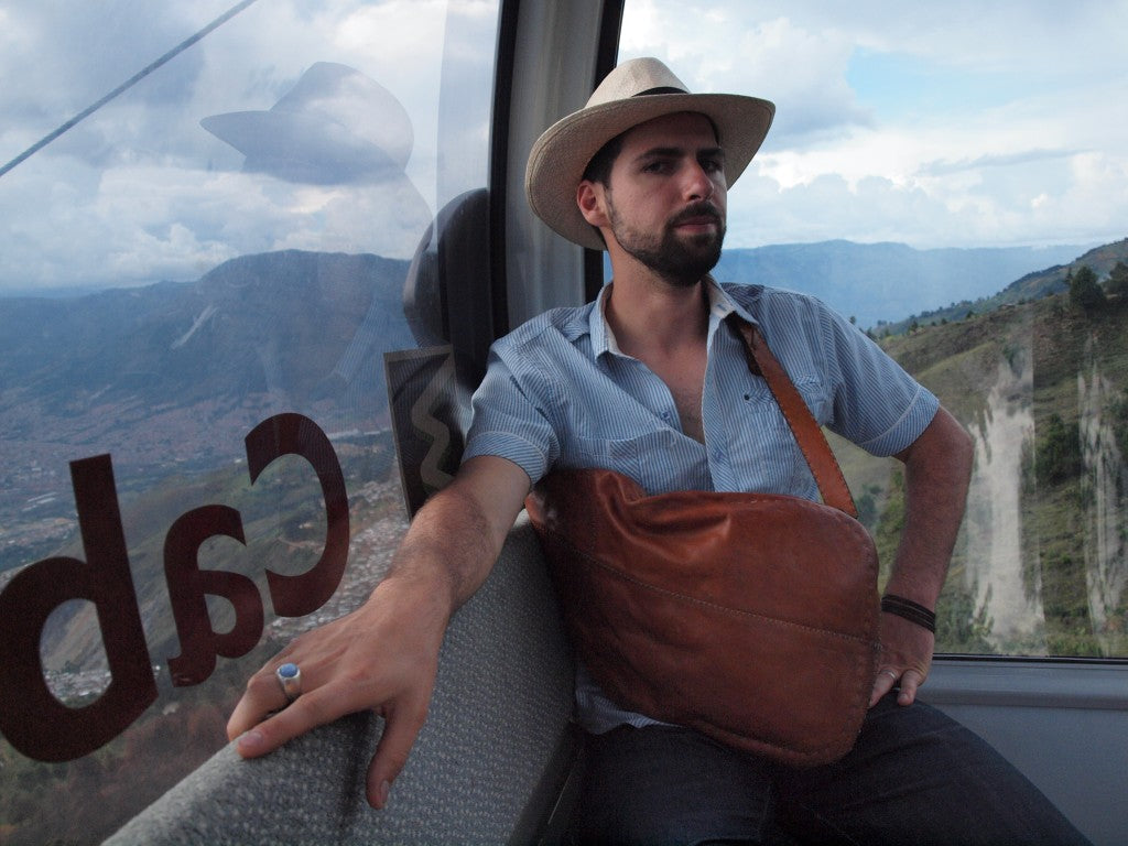 Riding the cable car in Medellin