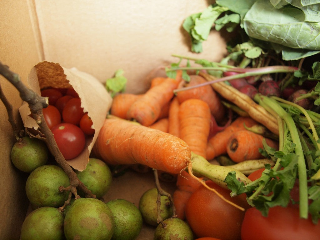 Inside the box of fruits and vegetables