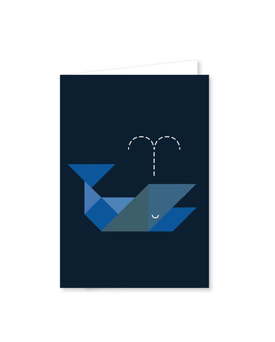 TANGRAM folded cards - whale