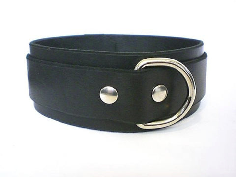 Single Ring Black Leather Restraint Collar