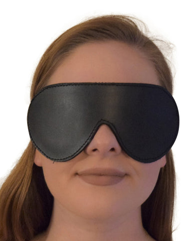Genuine Leather Padded Eye Mask / Blindfold with Elastic Strap