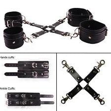5 Piece Leather Restraint Hogtie Kit