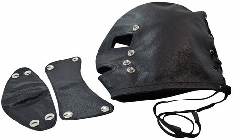 Genuine Leather Sensory Deprivation Hood w/ Attachable Blindfold and Gag