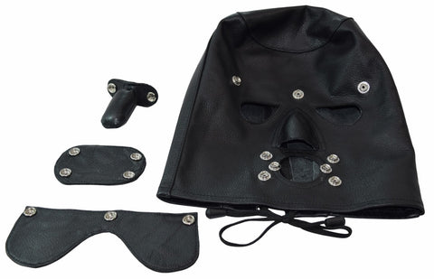 Genuine Leather Sensory Deprivation Bondage Hood w/ Attachable Blindfold, Gag and Oral Insert