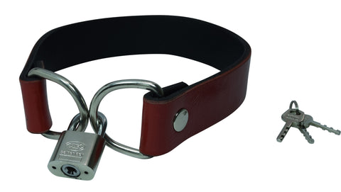 Red Leather Padlock Collar