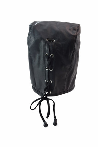 Sensory Deprivation Leather Mask with Zipper | Bondage BDSM Hood