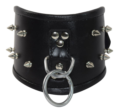Genuine Leather and Spike Posture Collar