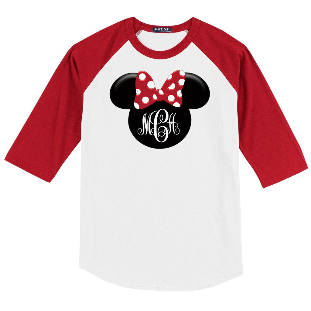 Disney Minnie Mouse 3/4 Sleeve Baseball Shirt w/Monogram Initials - 210 Kreations