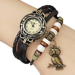 Retro Leather Bracelet Owl Quartz Wrist Watch -- Assorted Colors - 210 Kreations  - 2