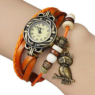 Retro Leather Bracelet Owl Quartz Wrist Watch -- Assorted Colors - 210 Kreations  - 3