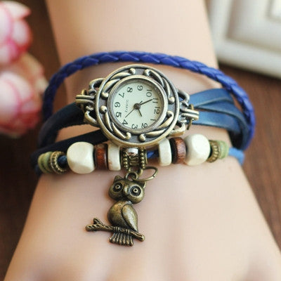 Retro Leather Bracelet Owl Quartz Wrist Watch -- Assorted Colors - 210 Kreations  - 1