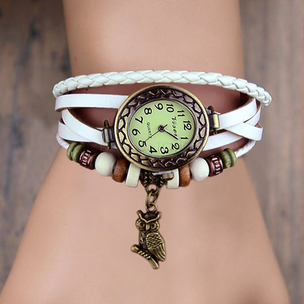 Retro Leather Bracelet Owl Quartz Wrist Watch -- Assorted Colors - 210 Kreations  - 4