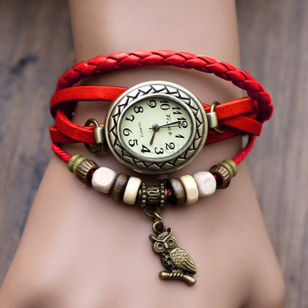 Retro Leather Bracelet Owl Quartz Wrist Watch -- Assorted Colors - 210 Kreations  - 5