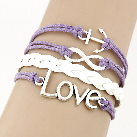 Purple/White Love Infinity Anchor Bracelet - 210 Kreations