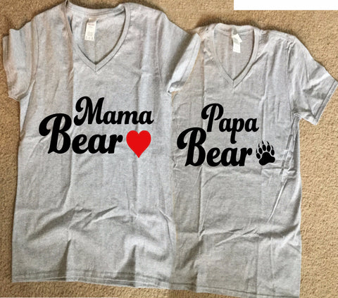 Mama Bear and PaPa Bear Cute Matching Couple Shirts