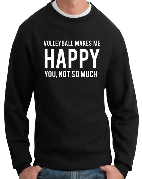 Volleyball Makes Me Happy Crewneck Sweatshirt - 210 Kreations  - 1