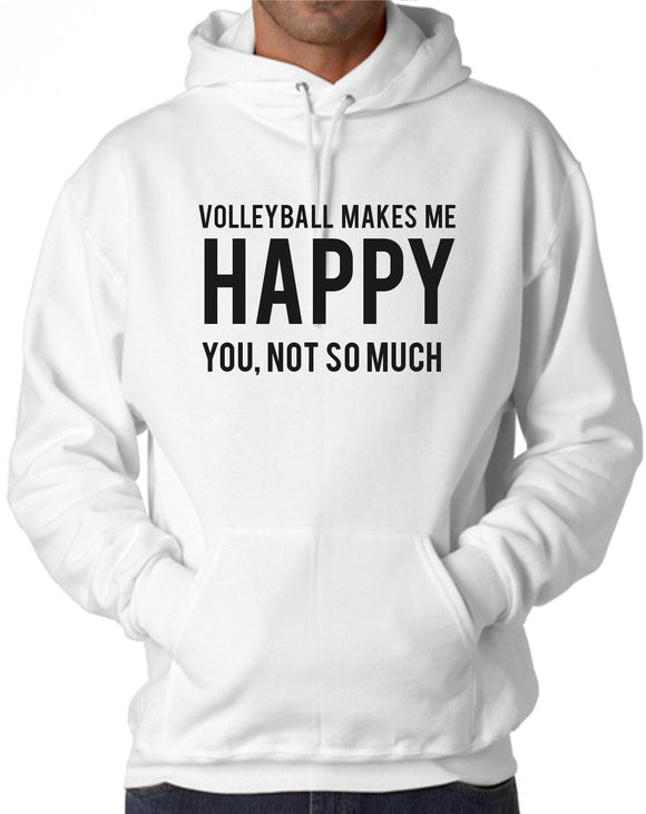 Volleyball Makes Me Happy Hooded Sweatshirt - 210 Kreations  - 1