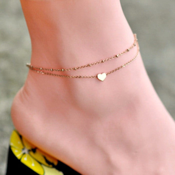 Double Gold Tone Heart Anklet - 210 Kreations  - 1