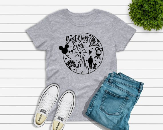 Best Day Ever Disney Bound Short Sleeve T Shirt - Adult, Ladies and Youth Sizes