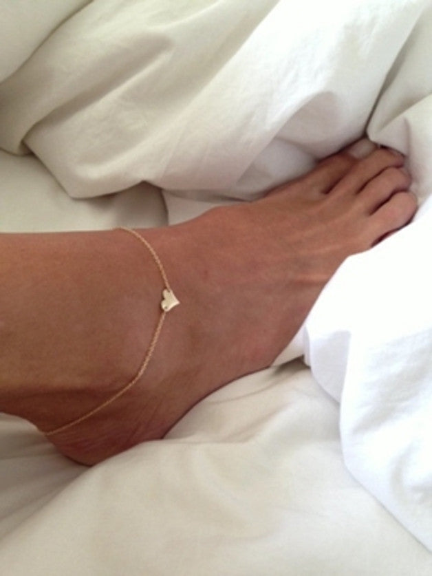 Gold Tone Heart Anklet - 210 Kreations