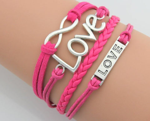 Retro Leather Love Infinity Friendship Bracelet - 210 Kreations