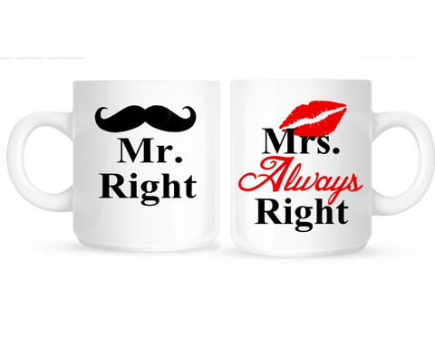 Mr Right and Mrs Always Right Personalized Coffee Mugs - 210 Kreations  - 1