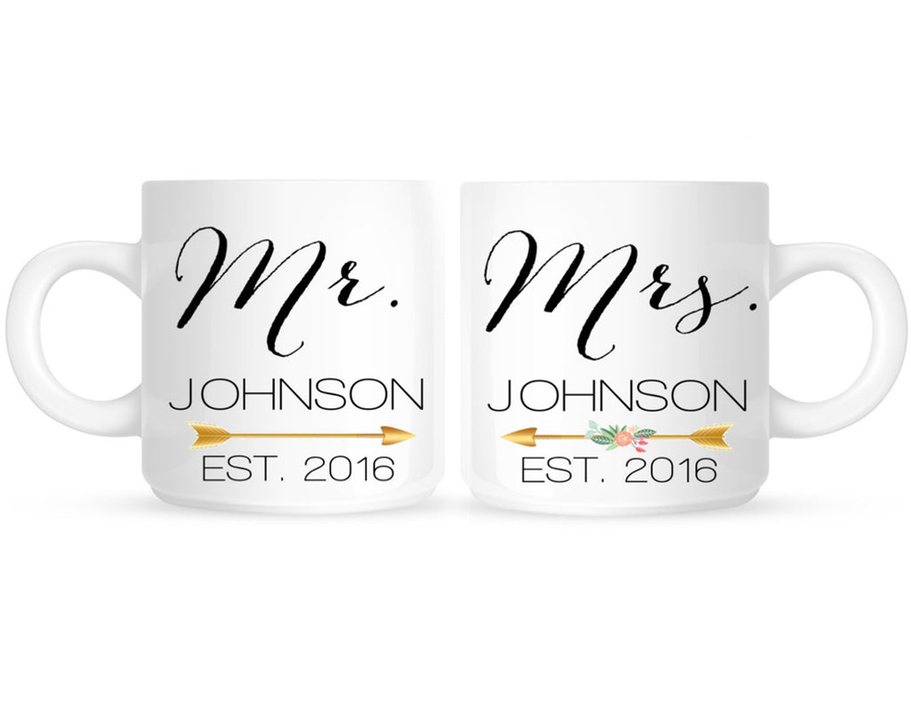 Mr and Mrs Personalized Wedding Coffee Mugs - 210 Kreations