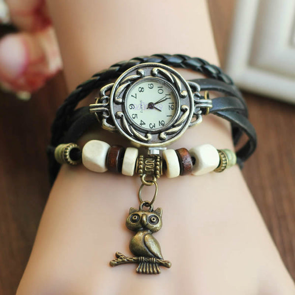 Retro Leather Bracelet Owl Quartz Wrist Watch -- Assorted Colors - 210 Kreations  - 6
