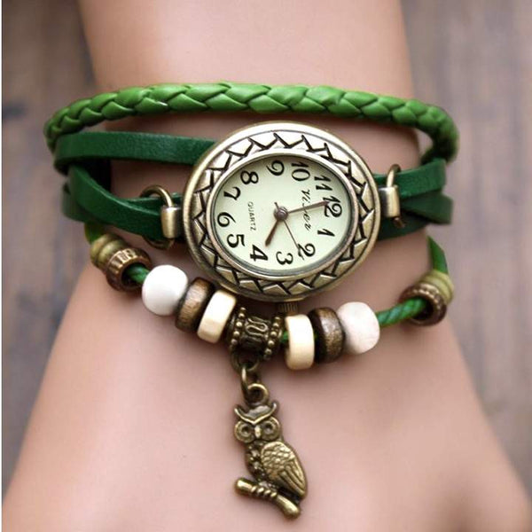 Retro Leather Bracelet Owl Quartz Wrist Watch -- Assorted Colors - 210 Kreations  - 7
