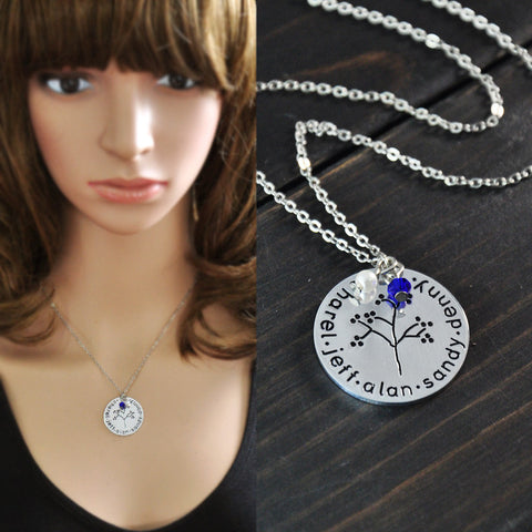 Personalized Family Tree Engraved Necklace w/Birthstone - 210 Kreations  - 1