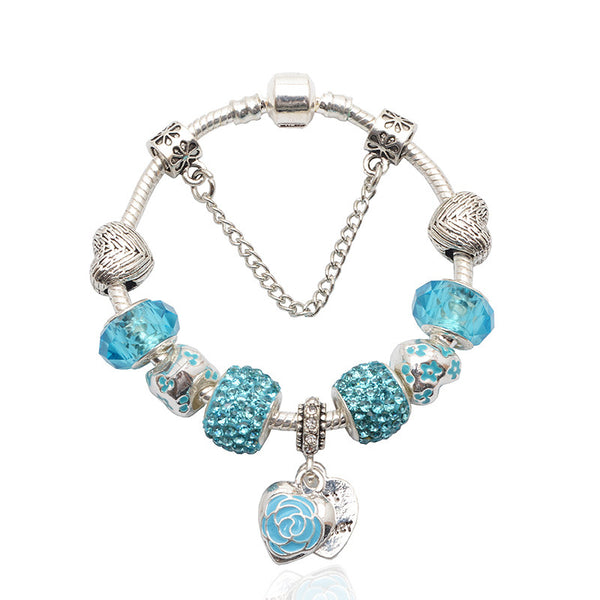 Heart/Flower Charm Bracelet - Assorted Colors - 210 Kreations  - 1