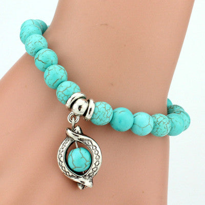 Turquoise Beads Bracelet - Assorted Charms - 210 Kreations  - 13