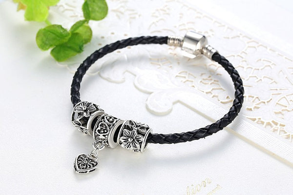 Silver and Leather Pandora Style Bracelet w/Charms - 210 Kreations  - 3