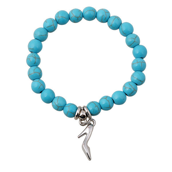Turquoise Beads Bracelet - Assorted Charms - 210 Kreations  - 6